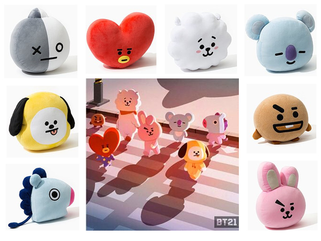 New Kpop Bangtan boys BTS bt21 vapp same Pillow plush Cushion warm bolster Q back Doll TATA VAN COOKY CHIMMY SHOOKY