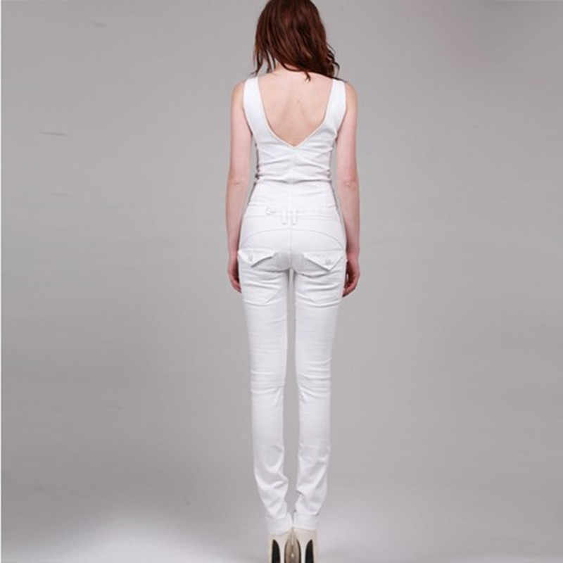 ec28faf148e0 ... Free Shipping 2019 New Fashion Sexy Double V-neck White Long Romper  Pants For Women ...