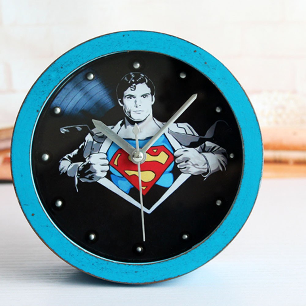 Retro Creative Style Superman Desk Clock Rivet Alarm Clock Black and Blue Table Clock Home Decoration and Silent Clock For Kids. Small Bathroom Clocks Promotion Shop for Promotional Small