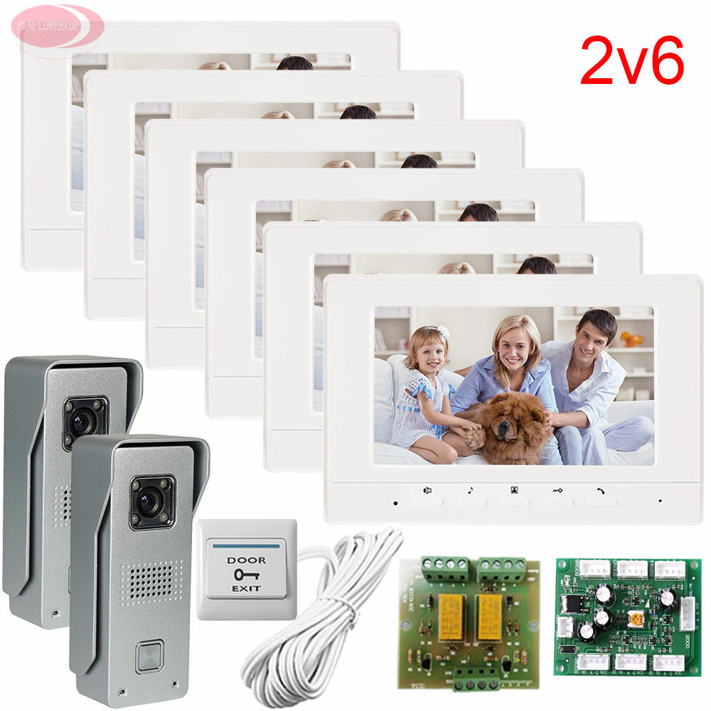 2v6 Video Intercom System Door Bell 6 Monitors 2 Cameras For Apartments 700lines HD Lens Free Shipping (5 Years Warranty)