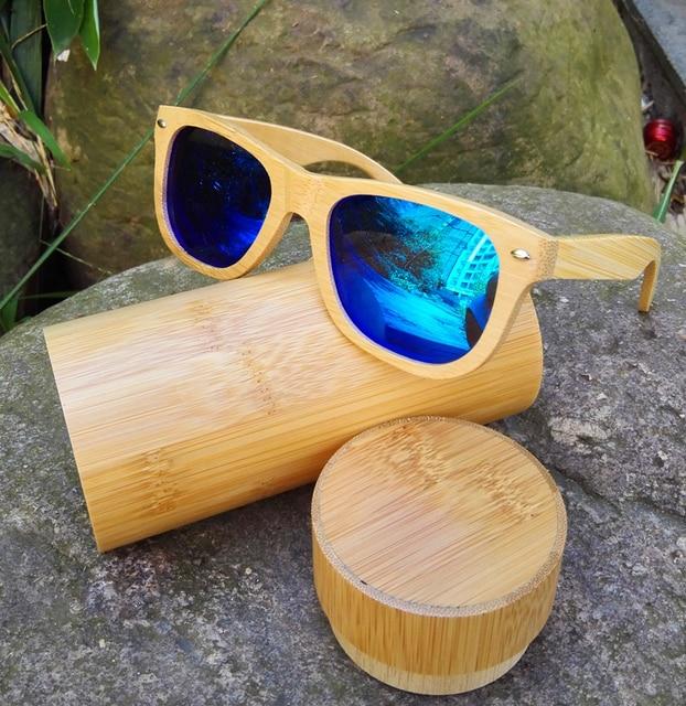 2016 nuevas mujeres calientes gafas de sol de madera de bambú gafas de sol lente azul para los hombres de lujo polarizado diseñador de la marca de gafas de marco de árbol