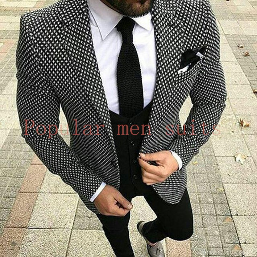 856d1a7fdcb2 2019 2018 Brand Style Suits Black White Floral Paern Men Suit Slim ...