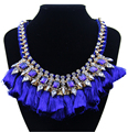 European Brand Luxury Blue Red Chain Rope Woven Crystal Rhinestone Thickness Cotton Tassels Short Choker Necklace women