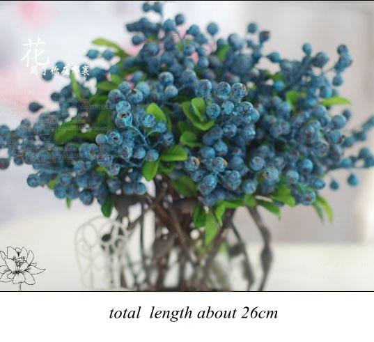 vruća prodaja dekorativni borovnica voće bobica umjetni cvijet - Za blagdane i zabave - Foto 4