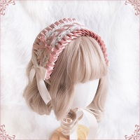Annie's breakfast Handmade Lace Bow Pink Hair band Lolita Headwear Sweet Princess Hair Accessories Cosplay Headbands