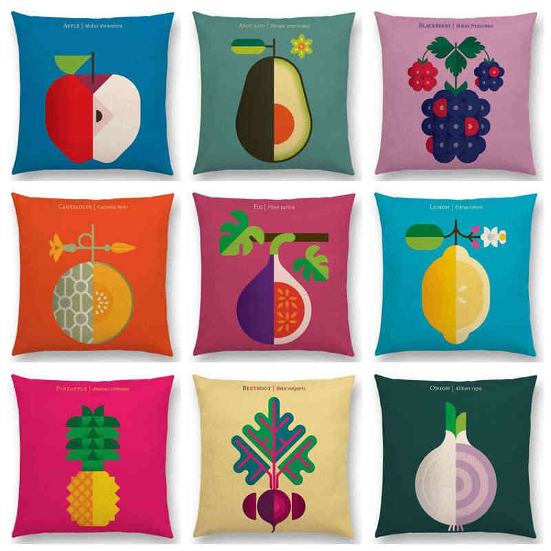 Lovely Fruits Vegetable Lemon Pineapple Avocado Blackberry Onion Colorful Cushion Cover Sofa Throw Pillow Case Y109