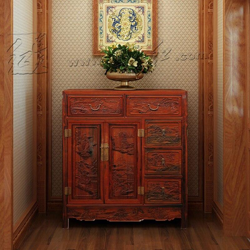 €6256.83 5% de réduction|Bois massif nouveau classique rétro commode  meubles de salon palissandre affichage armoire de rangement acajou lit  étagère ...