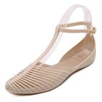 Korea summer beach hole shoes hollow Rome retro flat crystal plastic sandals female Baotou jelly shoes soft