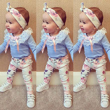 Cute Baby Girl Sky Blue T-shirt Toddler Floral Pants Kids Autumn Headband 3pcs Outfits Fashion Infant Clothes Set