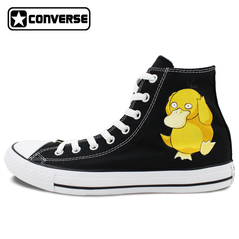 Sneakers Men Women Converse All Star Pokemon Go Psyduck Duck Design Hand Painted Shoes High Top Black Canvas Shoes Boys Girls u каталог all go