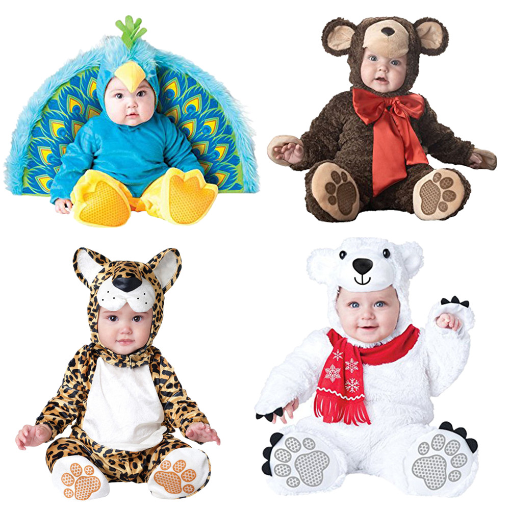 Baby Christmas Halloween Cosplay Costume Peacocks polar bears leopards monkeys Jumpsuit Boys Girls Clothes Set Kids Outfits