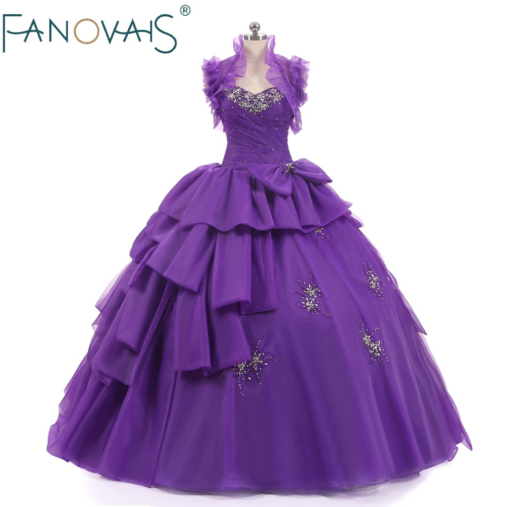 Purple Quinceanera Dresses With Bolero Vestido de Festa Ball Gown Prom Dresses Princess Gowns For Girls under 16