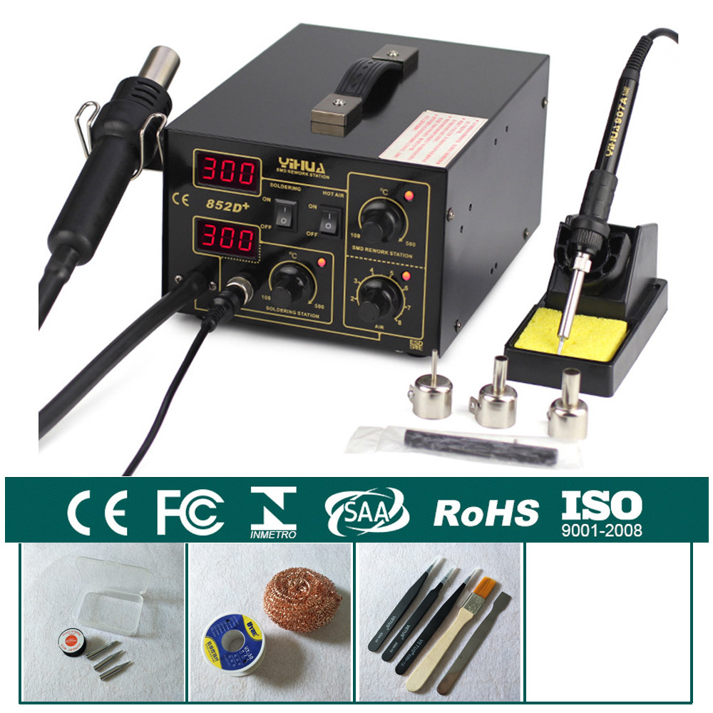 700W Pump Type Hot Air Heat Gun Digital Soldering Iron 2in1 SMD Hot Air Rework Solder Station With Free Gifts YIHUA 852D+