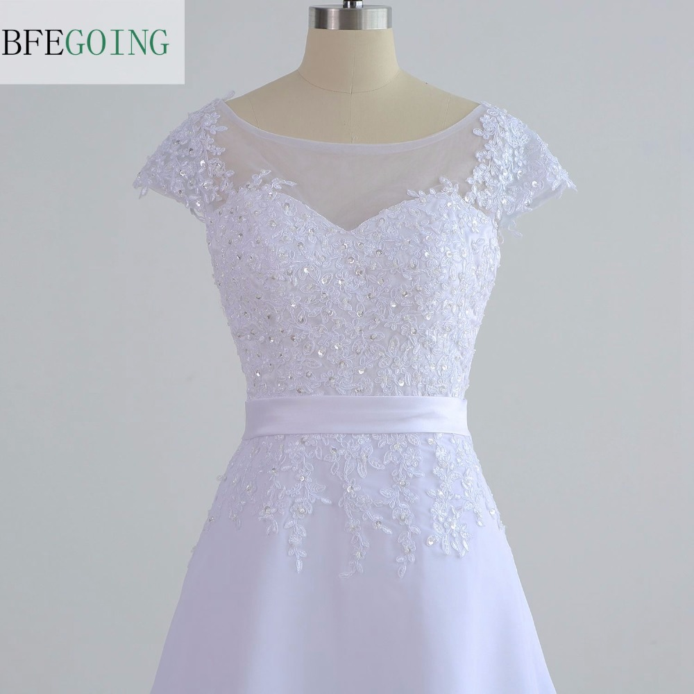 White Chiffon Lace Appliques A-line Wedding Dress Floor-Length Cap Sleeves  Real/Original  Actual  Photos  Custom made