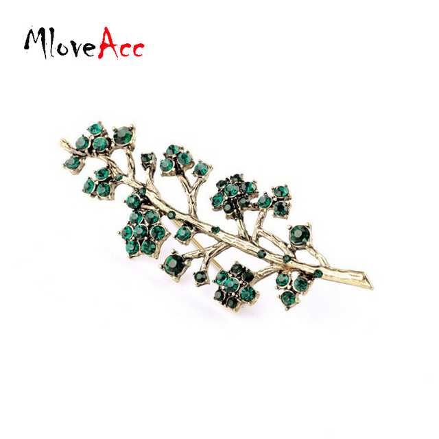 MloveAcc Luxury Evening Dress Green Crystal Rhinestones Brooch Pins Special  Costume Jewelry Tree Branch Brooch for 7d405a902dc4