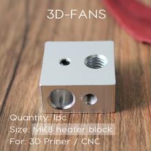 1 Шт. Reprap Makerbot МК7 MK8 Алюминиевого Нагревательного Блока Для Печати Горячего Конца Нагревательный Блок 20*20*10 20x20x10mm Для 3D принтер