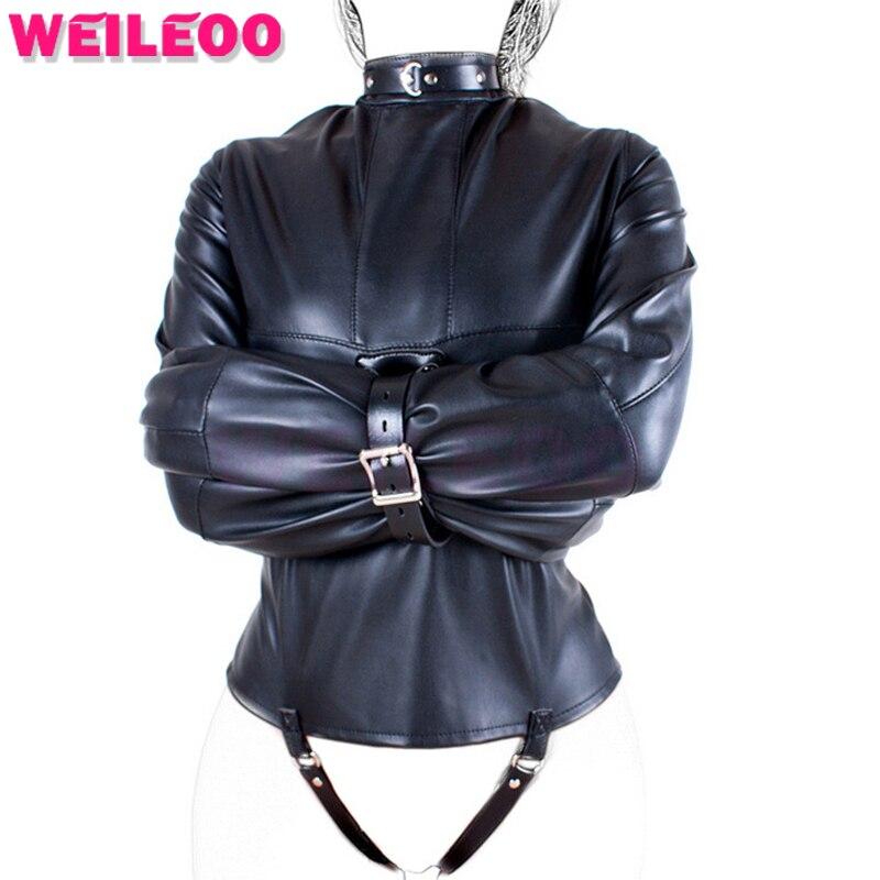 upper body swathed leather jacket slave bdsm sex toys for couples fetish algema sex toys bdsm