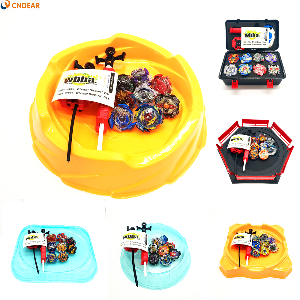 Hot 8 unids/set Kai Watch Land juguetes con lanzador de arranque y Arena Bayblade de fusión metálica Dios Spinning Top Bey Blade cuchillas juguetes