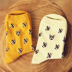 Марка Caramella милые Носки для собак Для женщин и Для мужчин Kawaii Доберман мультфильм длинный носок зима-осень Новинка однотонные