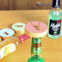 1pc Creative Elk Pattern Beer Bottle Opener With Wooden Fridge Magnets Shape Wine Opener Stainless Steel