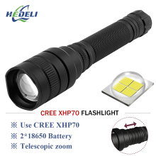 CREE XHP70 LED tactical flashlight powerful led 20000lm lanterna Zoom linterna rechargeable torch 2x18650 battery