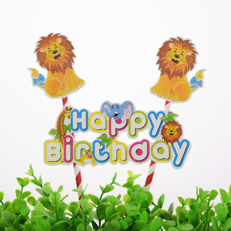 1pc DIY Cartoon Lion Zoo Happy Birthday Cake Flag Baby Shower Topper For Party Baking Decor