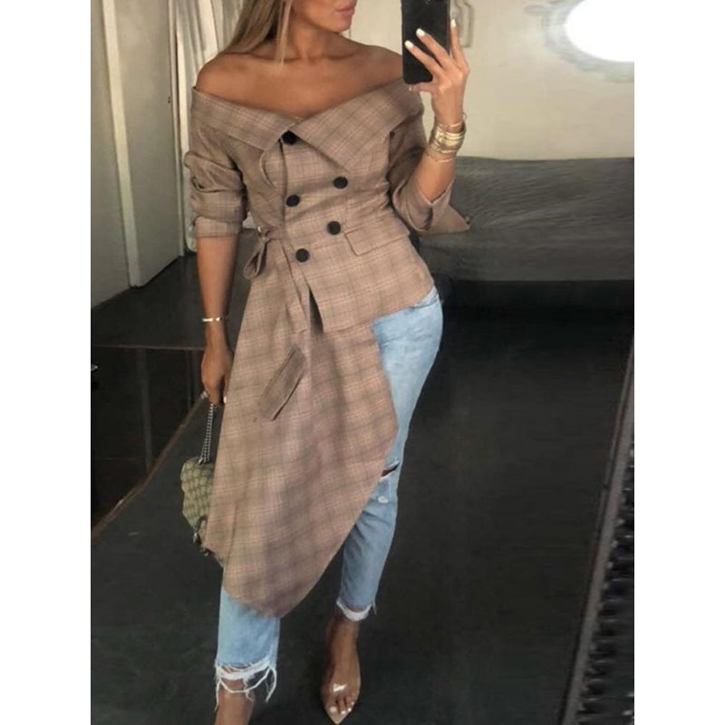 Plaid Off Shoulder Button Long Sleeve Long   Blouse   Women High Street 2019 Summer Female   Blouse     Shirts   Slash Neck Female Tops