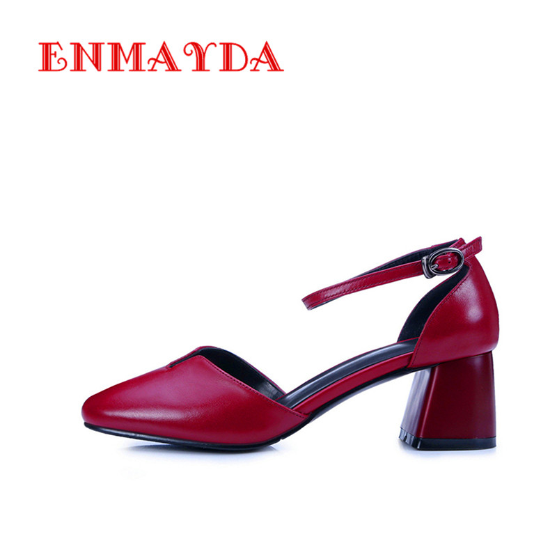 ENMAYDA Chunky Heels Round Toe Buckle Strap Sweet Office Shoes Women Genuine Leather Women Pumps High Heels Mary Janes All-match