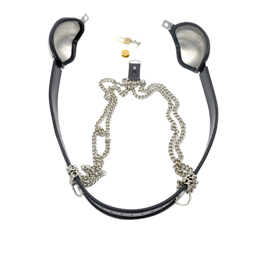 Stainless Steel Adjustable Bra Brassiere Chastity Belt Female Chastity Device Adult Game BDSM Bondage Sex Toys For Couples in Adult Games from Beauty Health