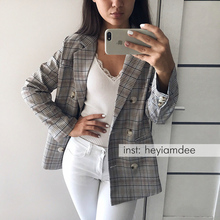 Casual Plaid Women Blazer Jacket Notched Collar Double Breasted Female Suit Coat