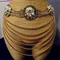 Europe personality exaggerated multilayer chain tassel wide belts women waist chain nightclub skull gem waist belt decoration