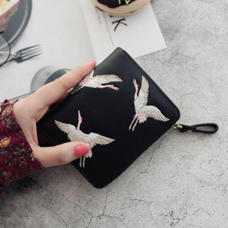 2019 Neue Mode Damen Geldbörse Wilde Zipper Kurze Brieftasche Mini Niedliche Gestickte Brieftasche.