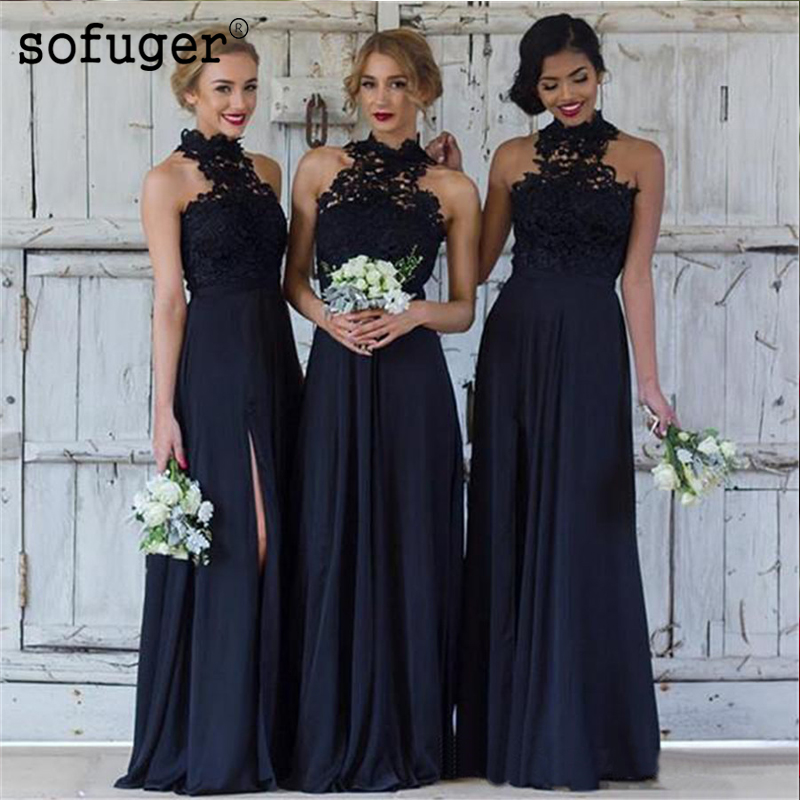 Exquisite Navy Blue Halter Chiffon Girl Slit Pleat Special Occasion   Bridesmaid     Dresses   Formal Vestidos Wedding Party   Dresses