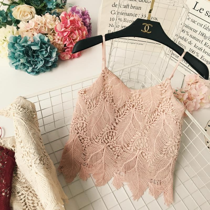 New Summer Ladies Sexy Lacework Hollow Out Short Solid Straight Double-deck Camisole Women Holiday Casual Strap Fit Crop Tops