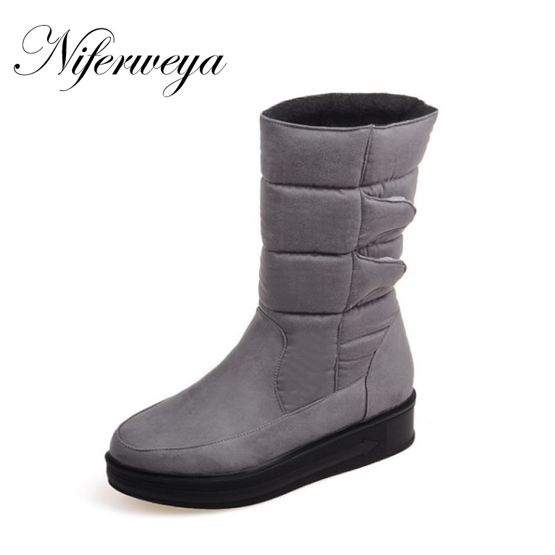 2016 Winter women short boots fashion suede Round Toe low heel shoes Big size 30-52 ladies Slip-On Mid-Calf snow boots x-007 xind ele standard eu uk touch switch 1 gang 110 250v wall swith toughened luxury crystal glass panel 2 colors available xdth01