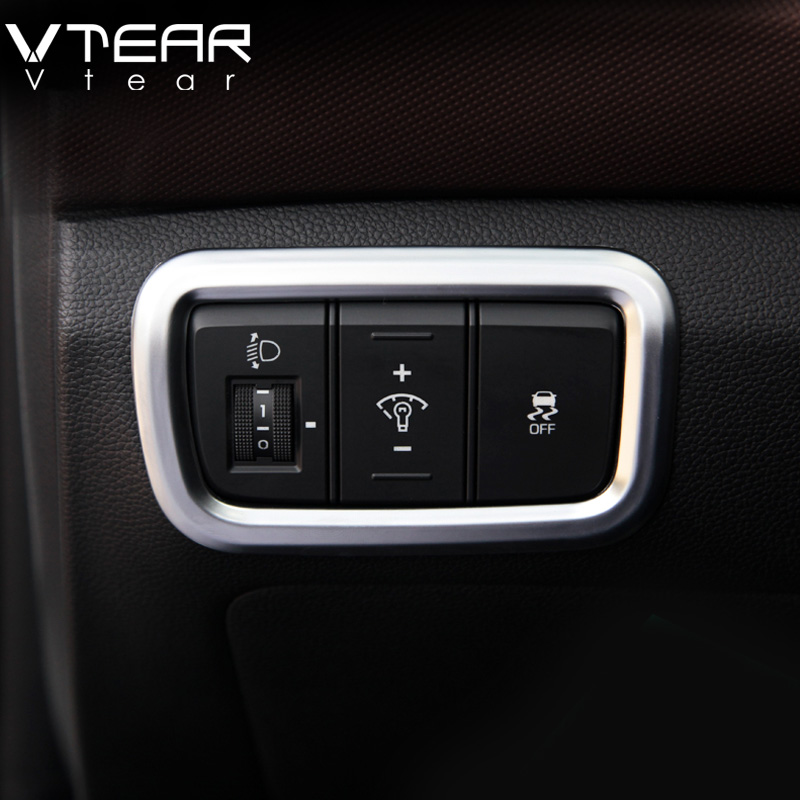 Vtear For Hyundai Creta ix25 Chrome accessories Headlight switch frame cover styling decoration ABS Interior Refit products 2016