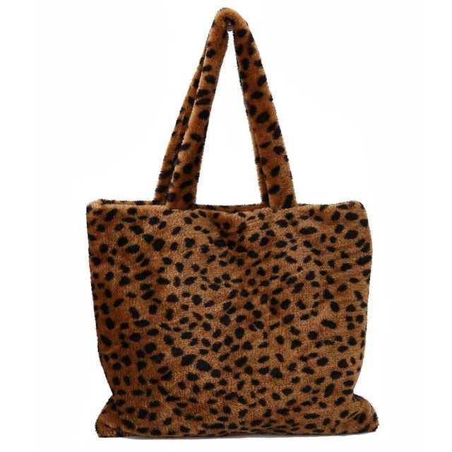 f8975cf2c8d8 Women Faux Fur Tote Bag Fashion Muff Fluffy Plush Leopard Handbag Female  Large Capacity Shopping Bag Soft Women Shoulder Bag