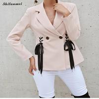 Black Reborn Women Balzers Pink Outerwear Fashion Street Clothing Ladies Long Sleeve Button Blazer Femme Women Coat Fall