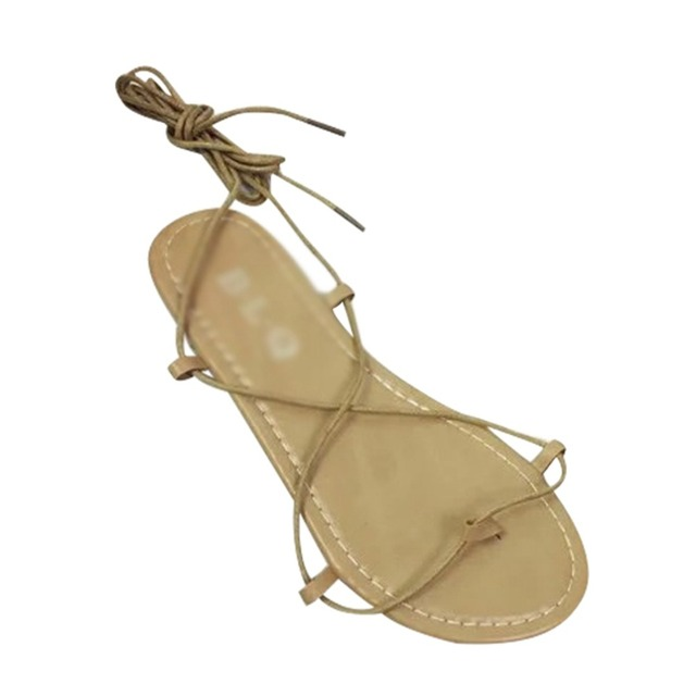 5eb457c14d9 New Women Sandals Gladiator Casual Lace Up Flat Sandals Fashion Women Cross  Tie Ankle Strap Flat Heel Summer Sandals