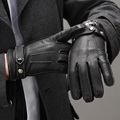 Muchacho de hombre mujeres amantes de la muchacha estéreo moda cuero genuino de la zalea guantes térmicos de invierno