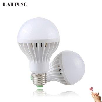 LATTUSO LED Sound/Voice Sensor Lamp E27 220V Led Bulb 3w 5w 7w 9w 12w White Auto Smart Infrared Body Light