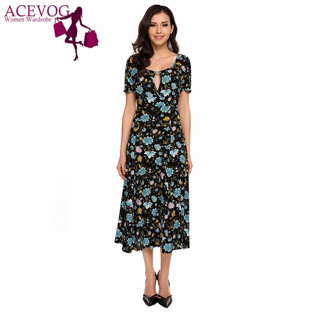 ACEVOG Women Keyhole Short Sleeve Vintage Floral Swing Dress Summer O-Neck Calf Length High Waist Retro 60s Feminino Vestidos floral chiffon dress long sleeve