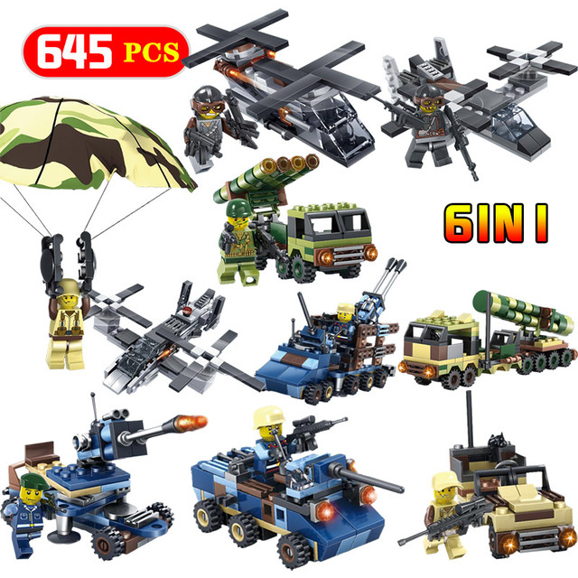 Figures Helicopter Tanks Building Blocks Airborne Military Ground Forces Action  Modle  Enlightening LegoINGLYS Toys For Kid