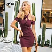Simplee Sexy Halter Lace Up Bodycon Dress Women Cold Shoulder Hollow Out Short Dress Autumn Winter