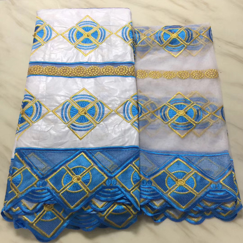 5+2yards/set high quality white and skyblue African bazin lace fabric with embroidery plus scarf net lace for party dress BLS335+2yards/set high quality white and skyblue African bazin lace fabric with embroidery plus scarf net lace for party dress BLS33