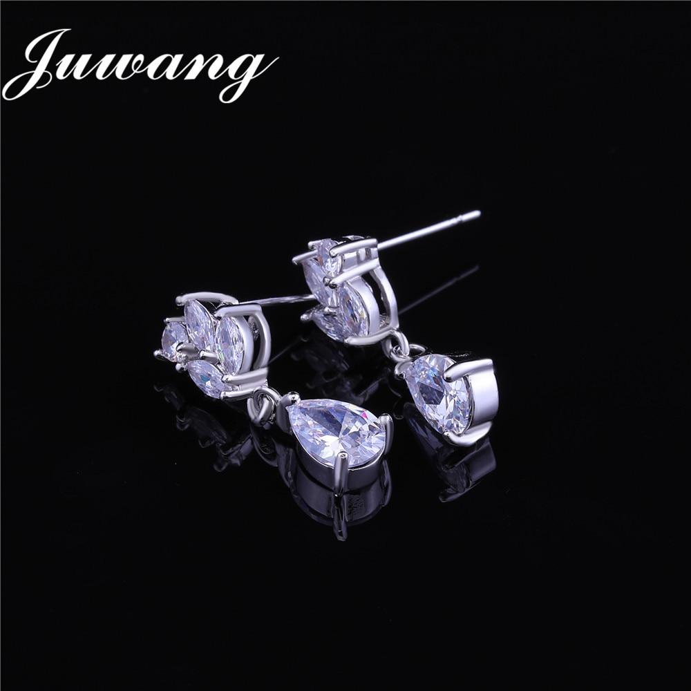 JUWANG-ensembles de bijoux romantique à fleurs en zircone cubique pour femmes, demoiselle d'honneur, mariée, accessoires de mariage, 2018 6