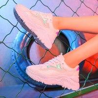 Women Shoes 2019 Fashion Chunky Sneakers Women Vulcanized Shoes White Sneakers Tenis Feminino Platform Dad Shoes Female Krasovki