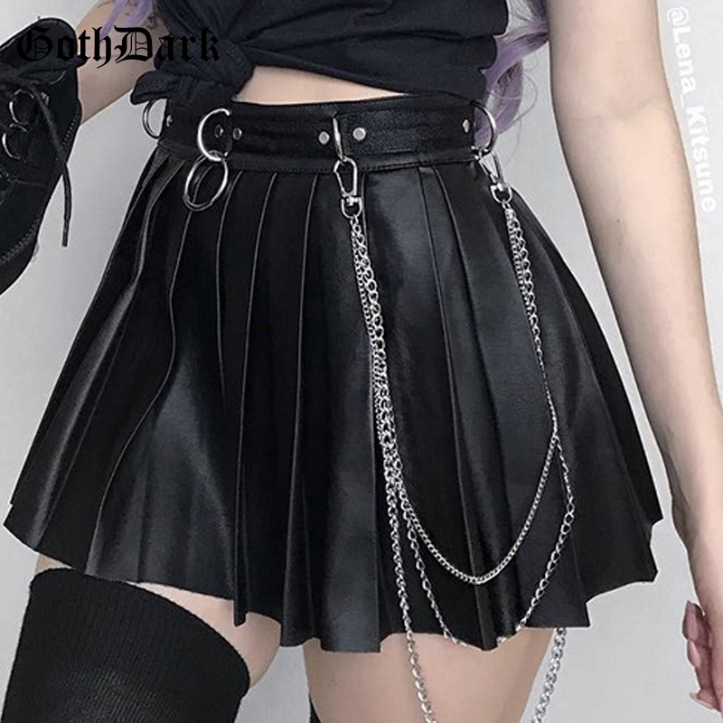 Goth Dark Grunge Punk Summer Gothic Skirts For Women Streetwear Zippper Rivet Pleated Black Metal Ring Skirt PU Sexy Hollow Out