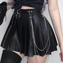 Goth Dark Grunge Punk Summer Gothic Skirts For Women Streetwear Zippper Rivet Pleated Black Metal Ring Skirt PU Sexy Hollow Out punk style pure color hollow out ring for women
