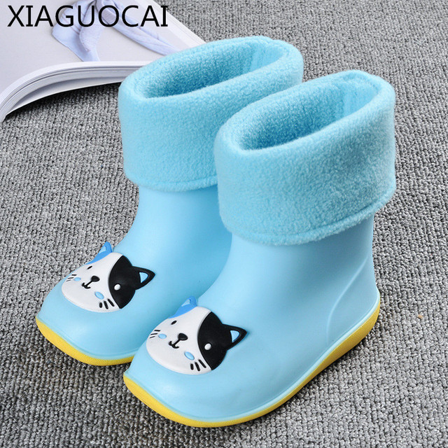New Autumn winter Kids Rain Boots warm with cotton shoes for children Non-slip Waterproof Girls Baby Boys Toddler shoes B61 27